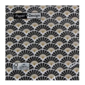 Porland Sılk Pattern Black  Kağıt Peçete 20li
